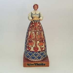 Jim Shore Pilgrim Woman Pie Thanksgiving Figurine